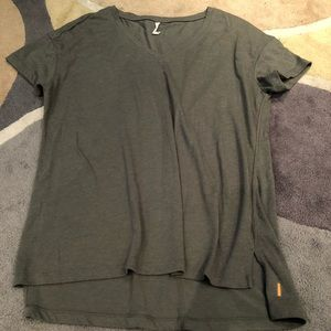 Lucy Activewear v neck army green cotton tunic tee